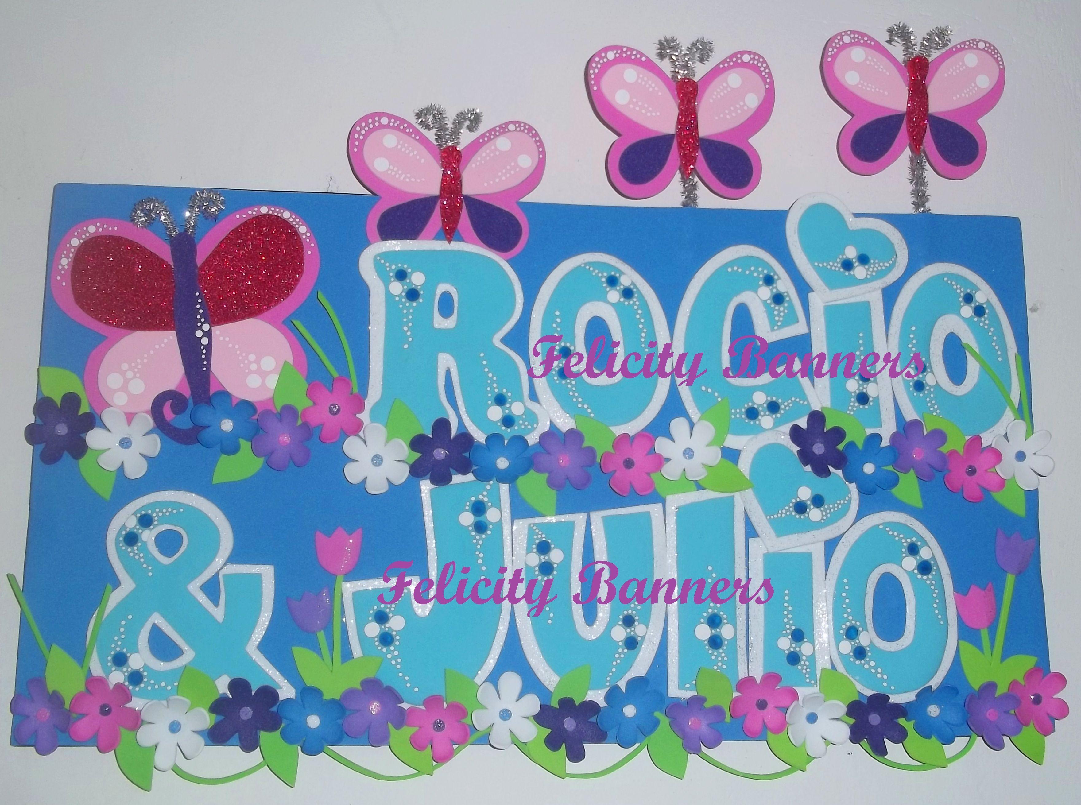 Banner en foami Butterflies and flowers