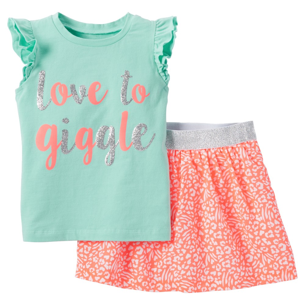 9925b13b1 Just One You Made by Carter's Toddler Girls' Love To Giggle 2-Piece Skort  Set - Mint Air 5T, Toddler Girl's, Green