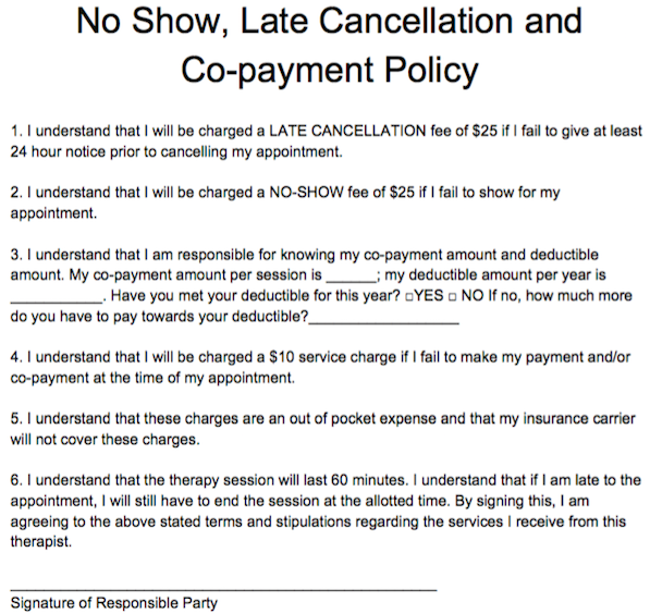 No Show Late Cancellation And CoPayment Policy  Free Counseling