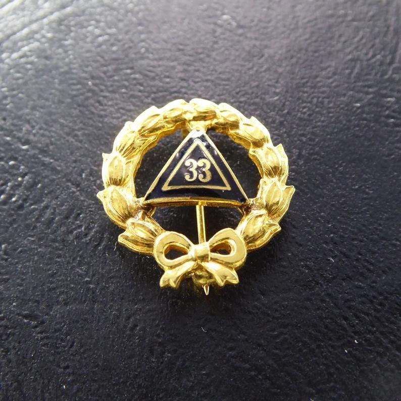 09898f6db9a Gold Scottish Rite 33rd Lapel Pin Wreath w Bow at Bottom