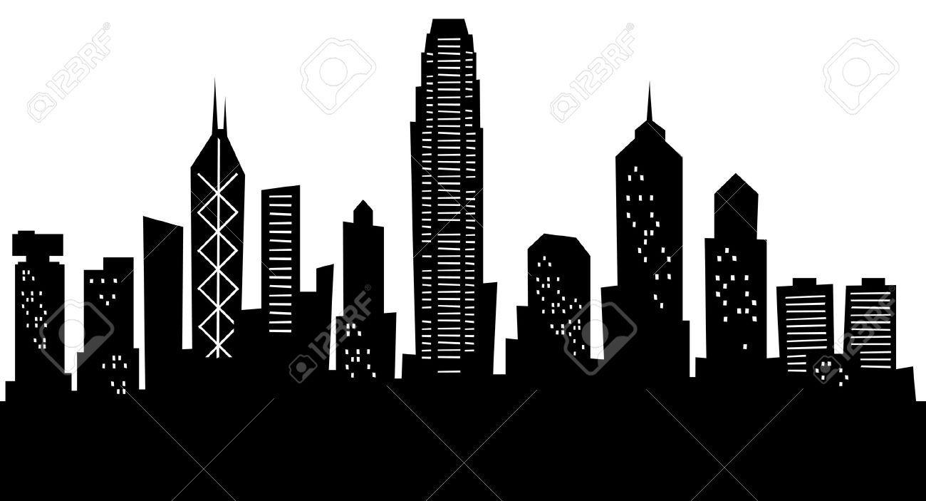 Stock Photo City Outline Skyline Silhouette Cityscape Silhouette