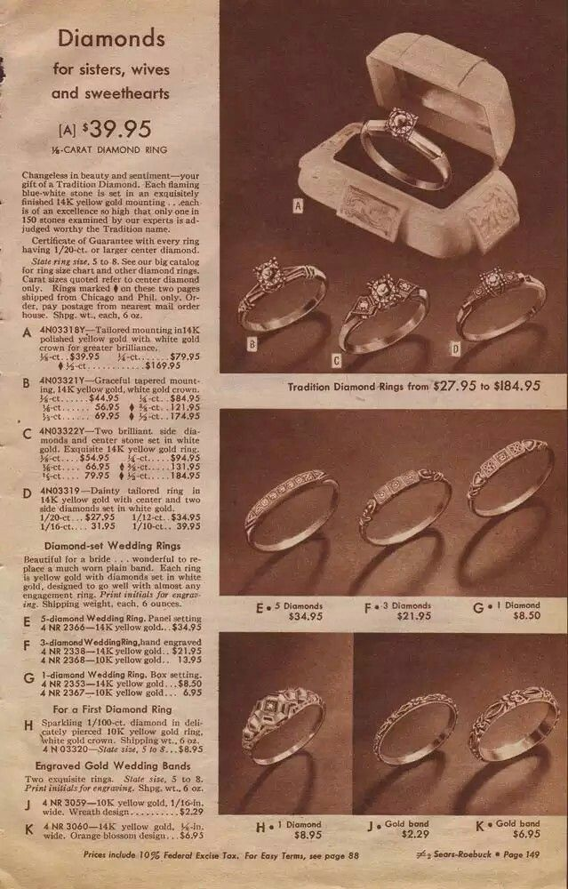 1943 Sears Christmas Catalog Engagement And Wedding Rings Ranging In Price From 2 Large Wedding Rings Wedding Rings Vintage Vintage Engagement Wedding Rings