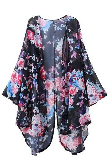 Drape yourself in the feminine luxury of this kimono. The billowing silhouette is crafted from a fluid fabrication which creates a beautiful base for the exclusively-designed floral print. Pair it with a crop top and mini skirt.