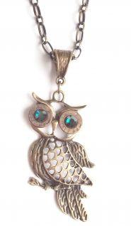 Recycled Bronze Owl Necklace, Swarovski Crystals