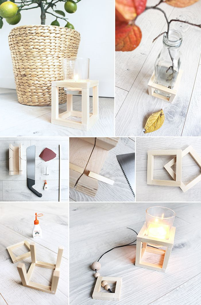 Do It Yourself Kerzenstander Aus Holzleisten Basteln Mit Bildern Selbermachen Holzleisten Diy Deko Ideen