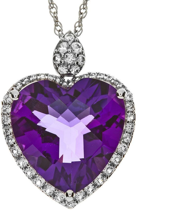 Fine Jewelry Lab-Created Amethyst and White Sapphire Double Heart Pendant Necklace WY8ERi