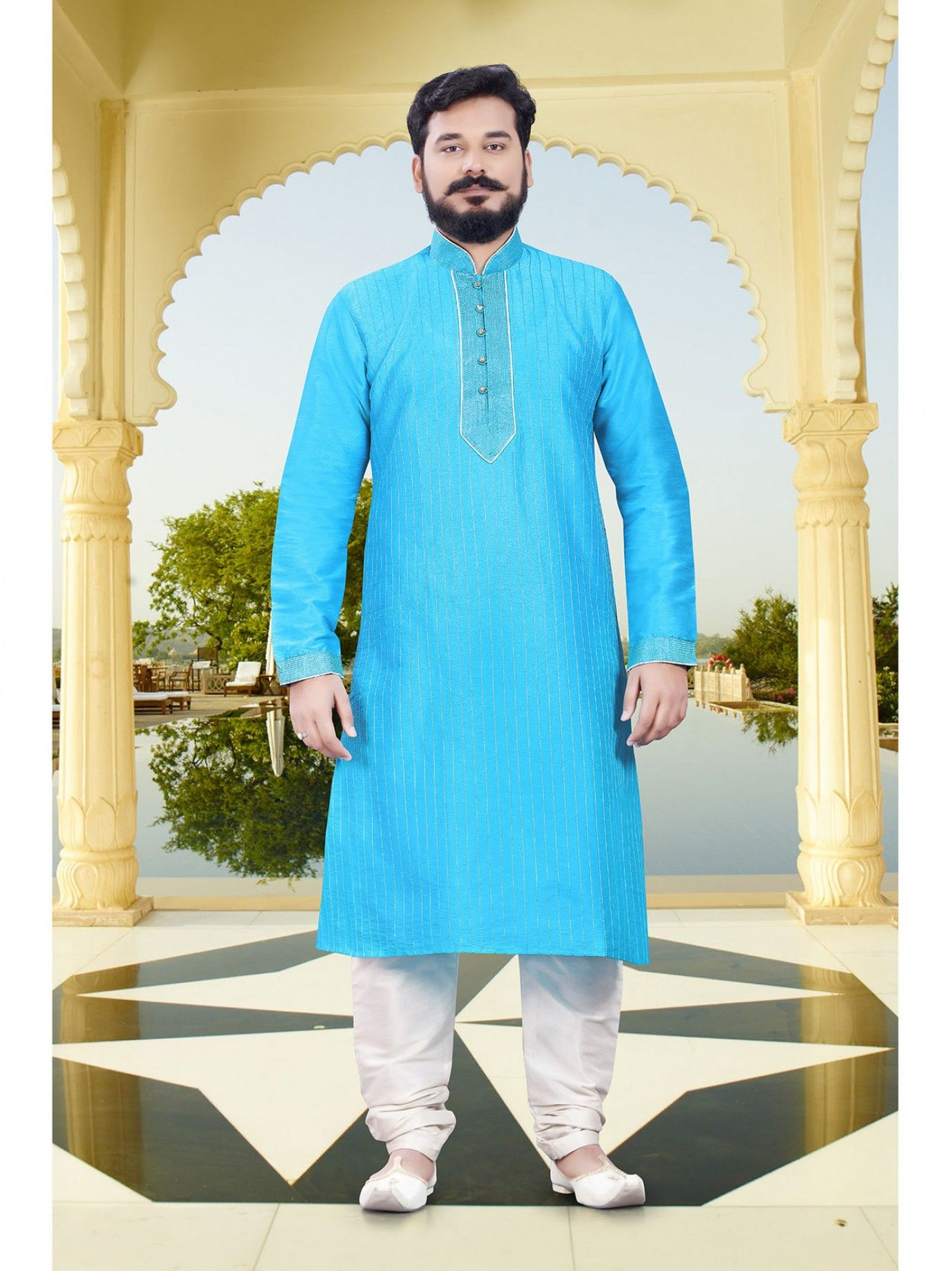Blue Raw Silk Embroidery Men Ceremony Kurta Pajama | Silk Ribbon ...