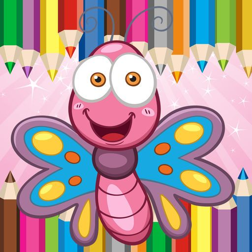 Fantasy Beautiful Butterfly Princess Coloring Book App Logo Coloring Book App Princess Coloring Coloring Books