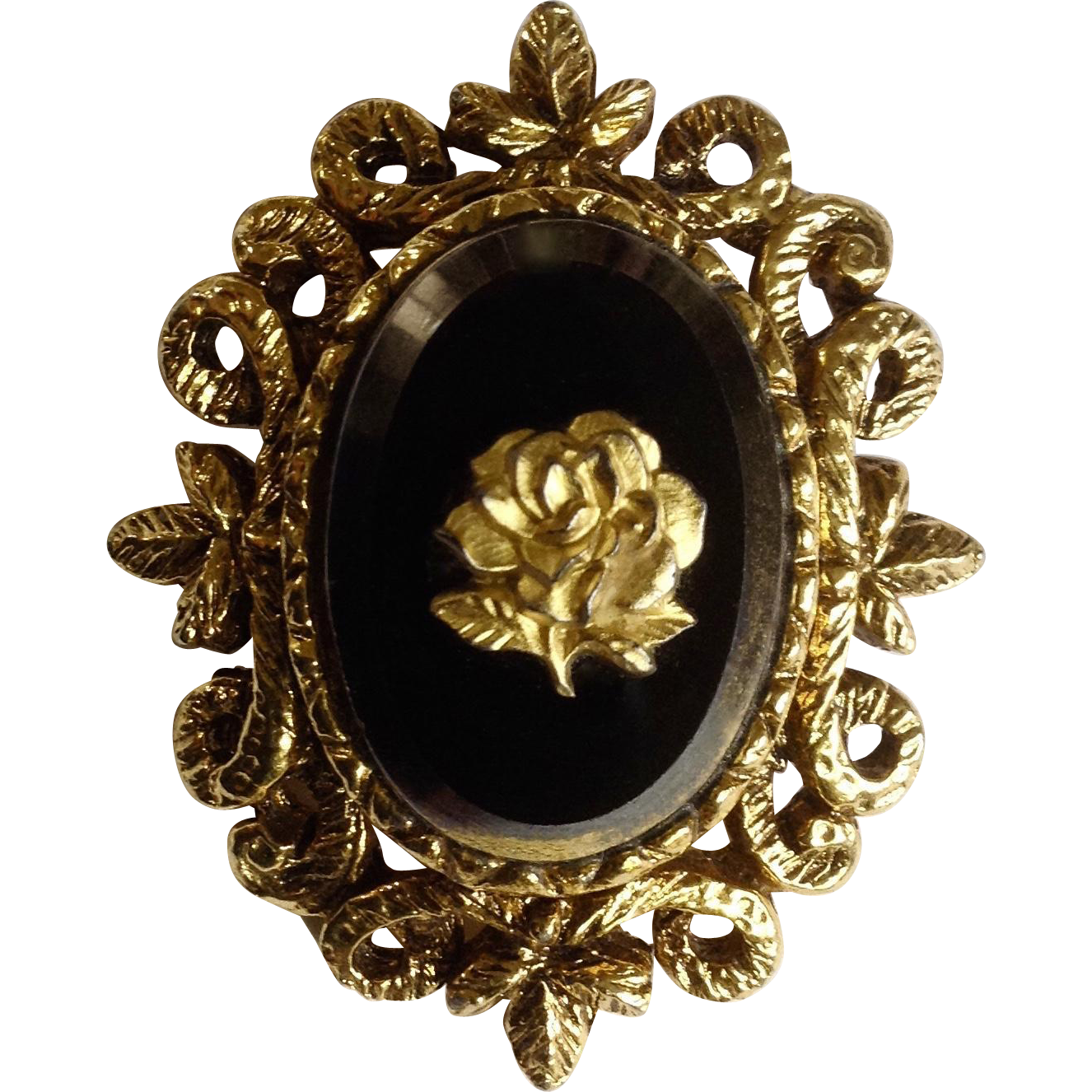 Golden Rose Pendant Goldtone Filigree and Black Glass Center