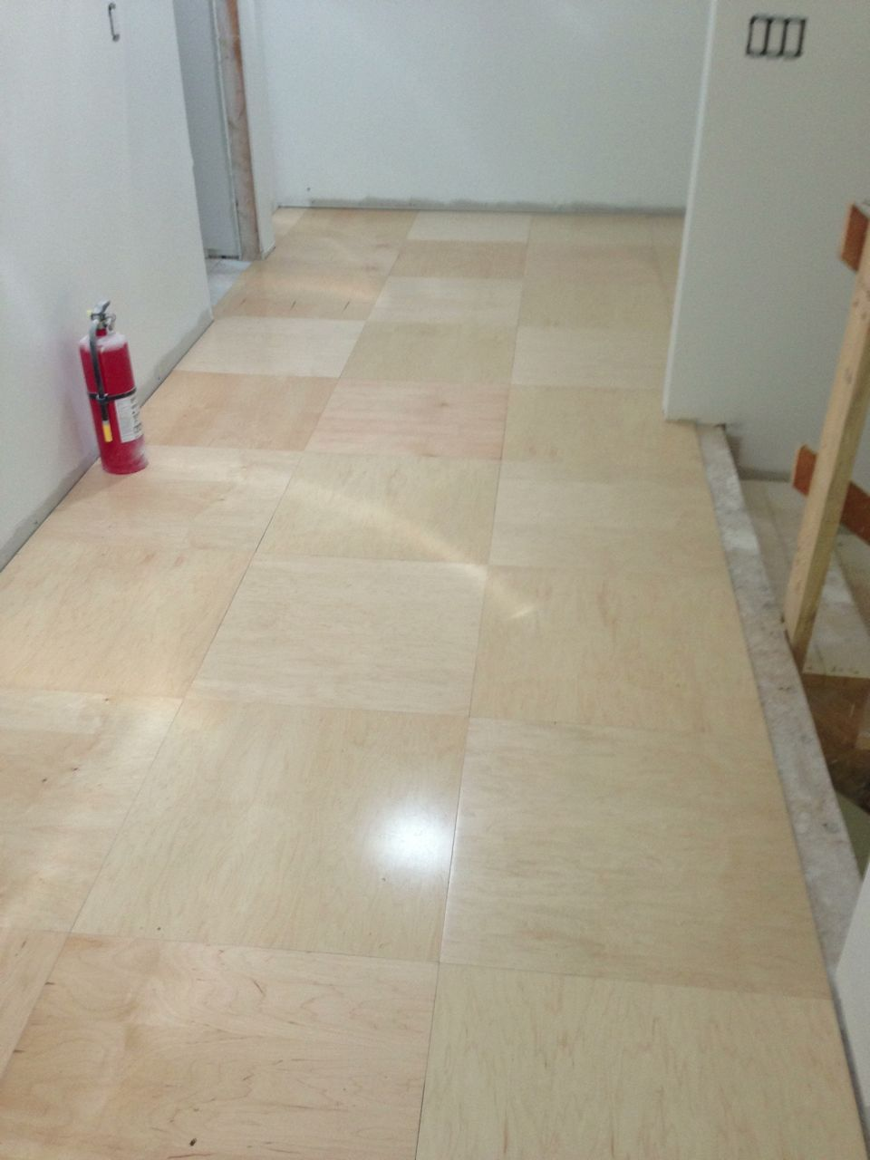 Ply wood flooring ideas hall received a simple floor of the upstairs library hall received a simple floor of maple veneer plywood cut into tiles dailygadgetfo Gallery