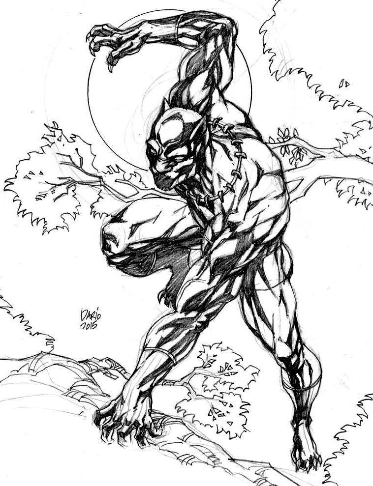 Black Panther Drawing (Black & White Art) | Cuadernos de dibujo ...