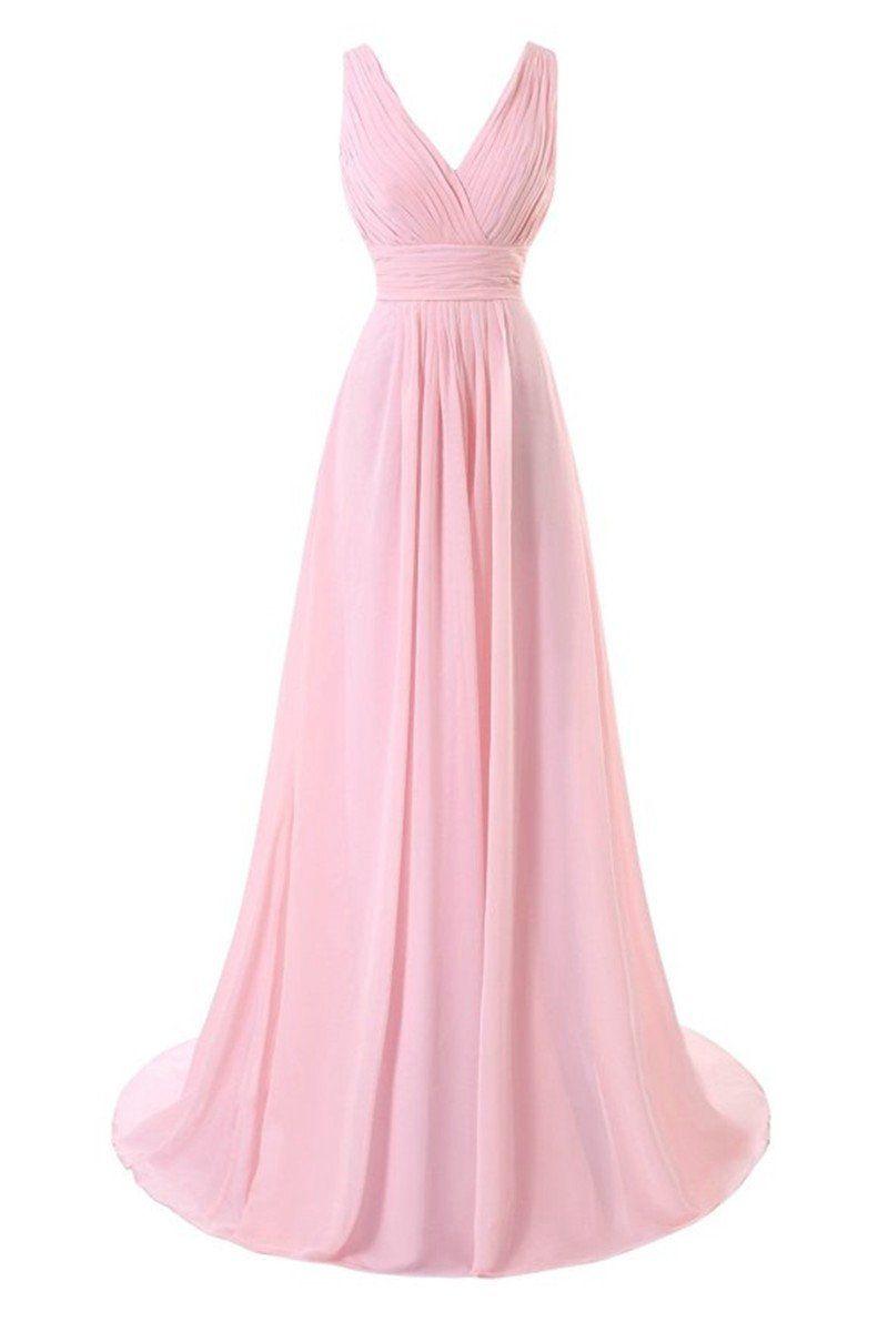 Simple pink long chiffon bridesmaid dresses vneckline pleat women