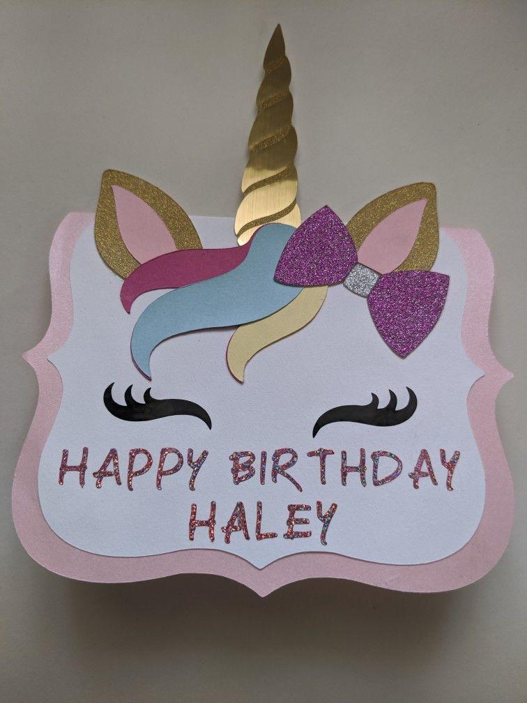 Unicorn Birthday Card Unicorn Birthday Cards Happy Birthday Cards Diy Birthday Card Craft