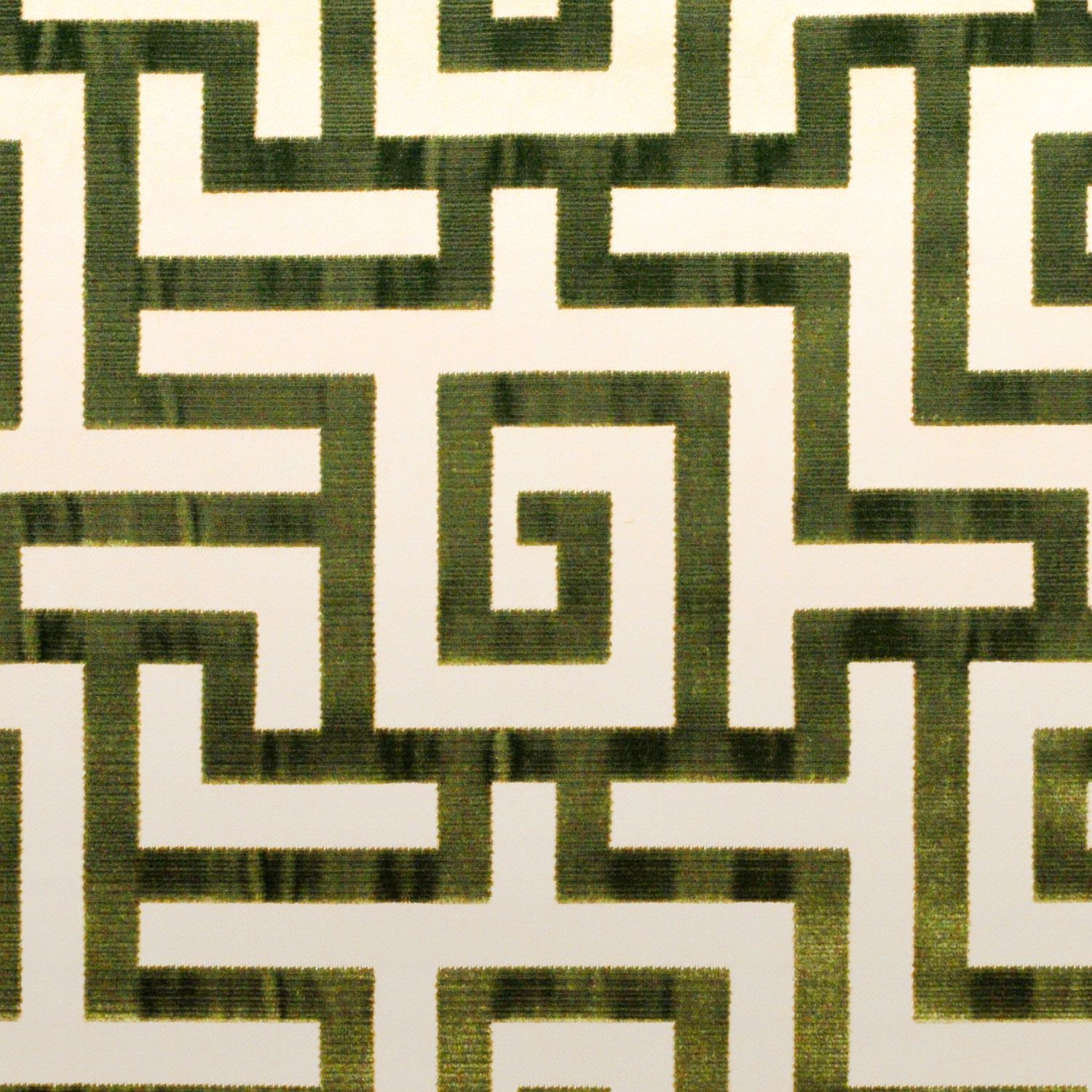 Clarence House Labyrinth silk and cotton velvet in green