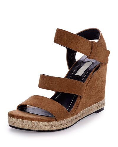 5cba2931709 X2WA6 Balenciaga Three-Strap Suede Wedge Sandal, Hazelnut | Shoes ...