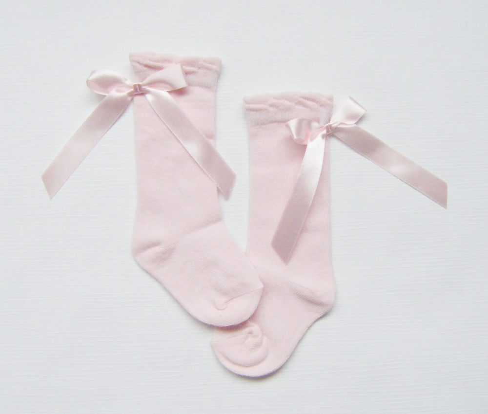 Baby Girls Knee High Pink Ribbon Socks