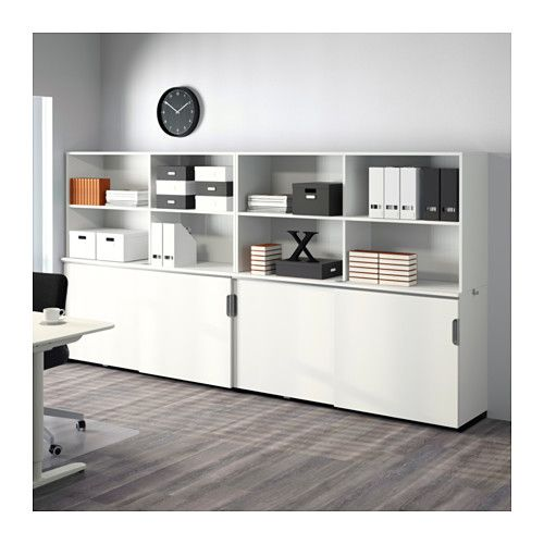 option 2 for marketing room galant storage combination w sliding doors white ikea office. Black Bedroom Furniture Sets. Home Design Ideas