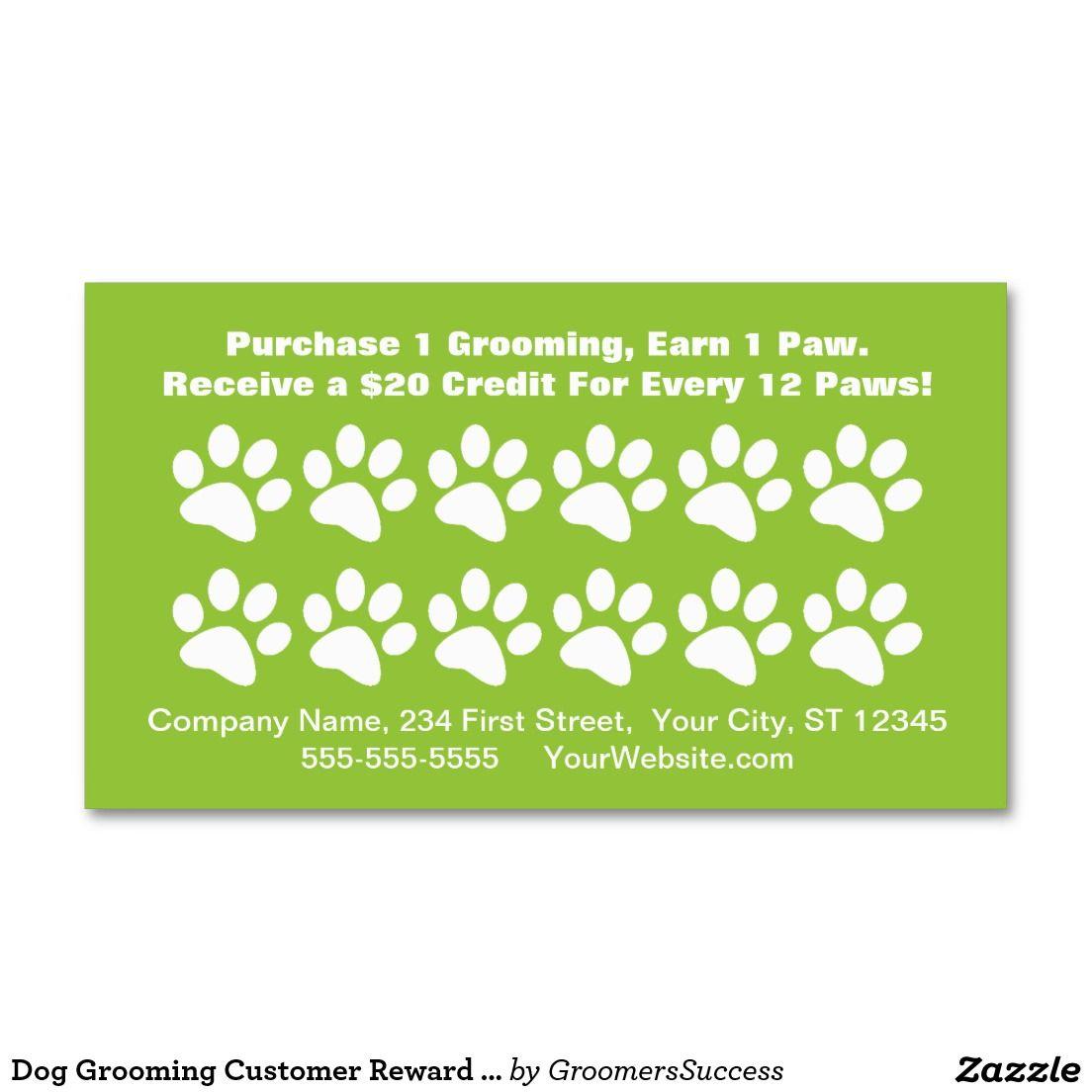 Dog Grooming Customer Reward Card - Loyalty Card | Loyalty, Dogs and ...