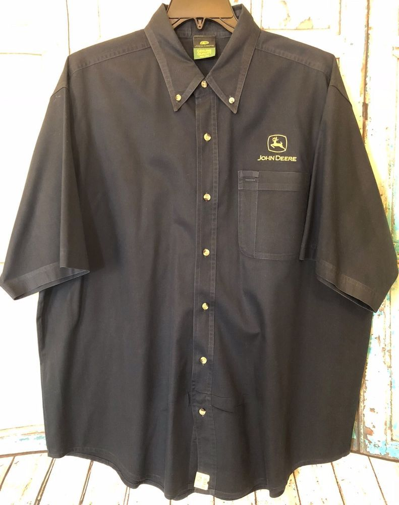 John Deere Mens Navy Blue Ss Button Down Shirt Advertising