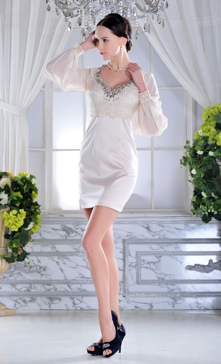 Princess style short formal dress with long sleeves and vneck