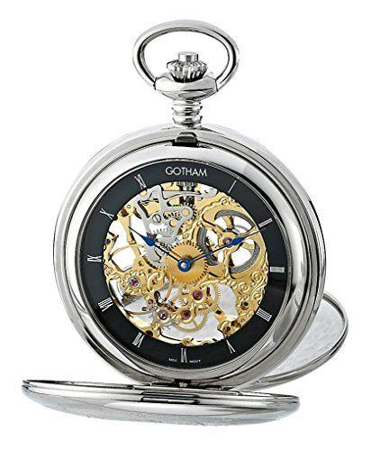 4b00e01e498 Gotham Mens Silver-Tone Mechanical Pocket Watch with Desktop Stand    GWC18800SBG-ST · Relógios De BolsoGothamRelógioPrataEstiloVestimenta  MasculinaHomens ...