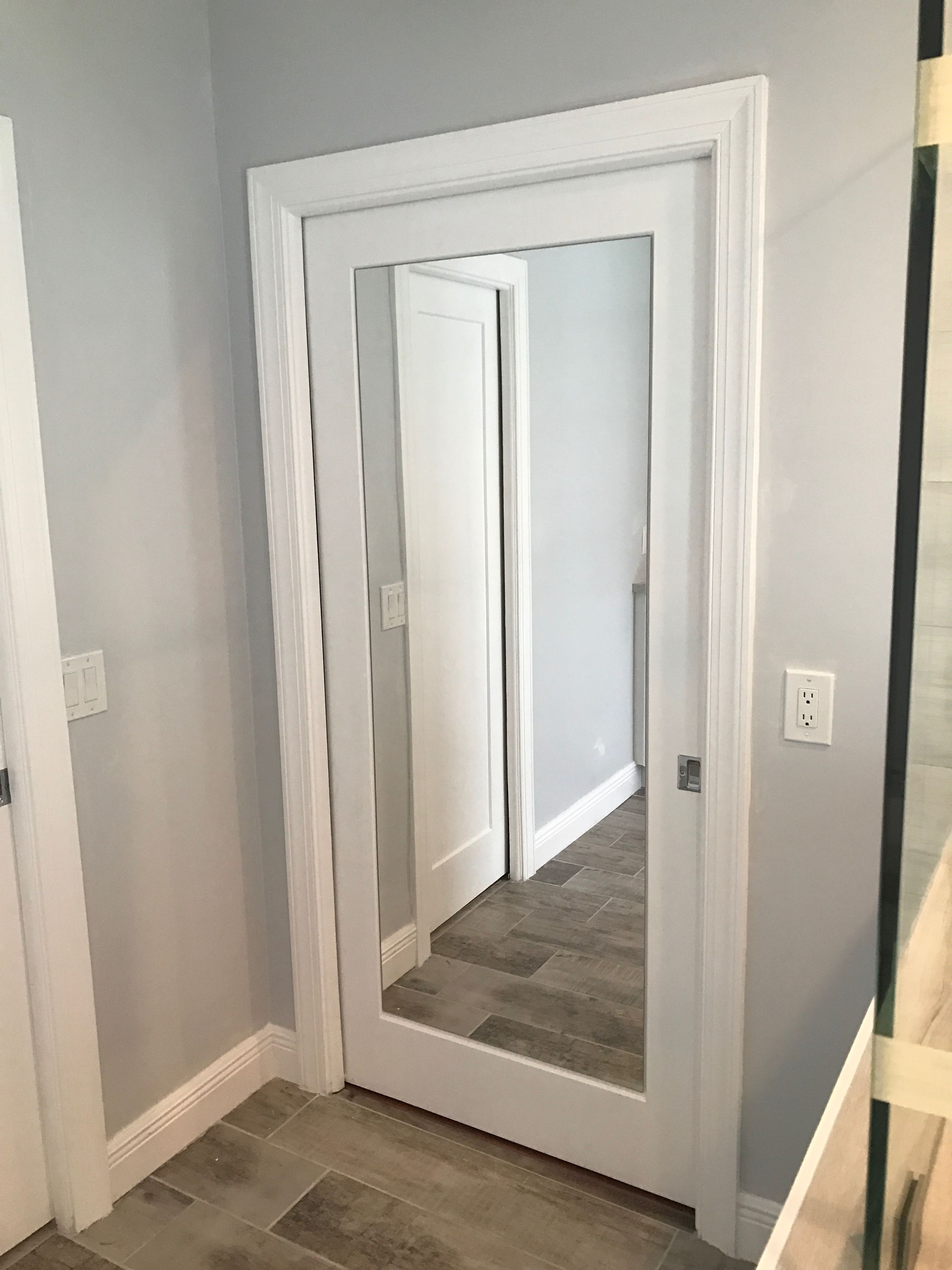 Add A Full Length Mirror Into Madison Hollow Pocket Door From Home Depot Genius