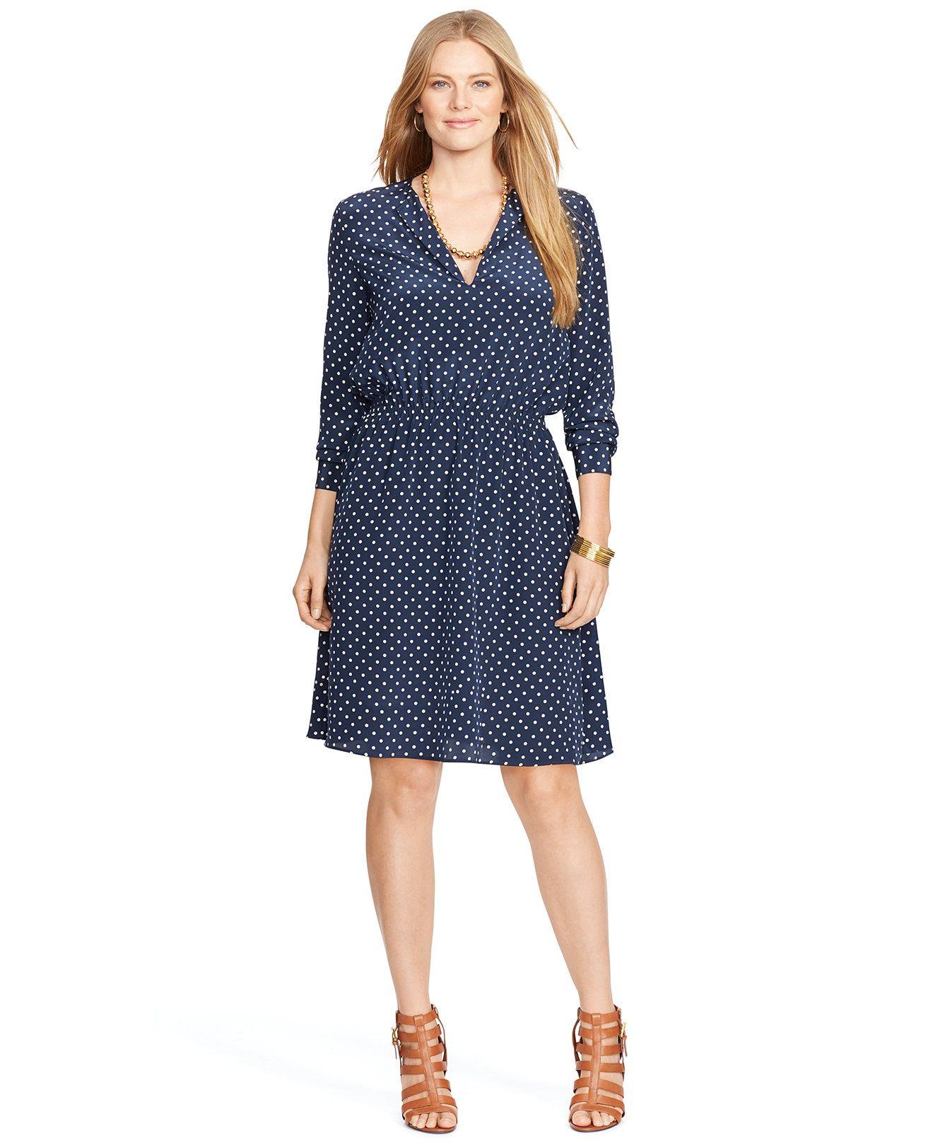 Lauren Ralph Lauren Plus Size Polka-Dot Split-Neck Dress ...