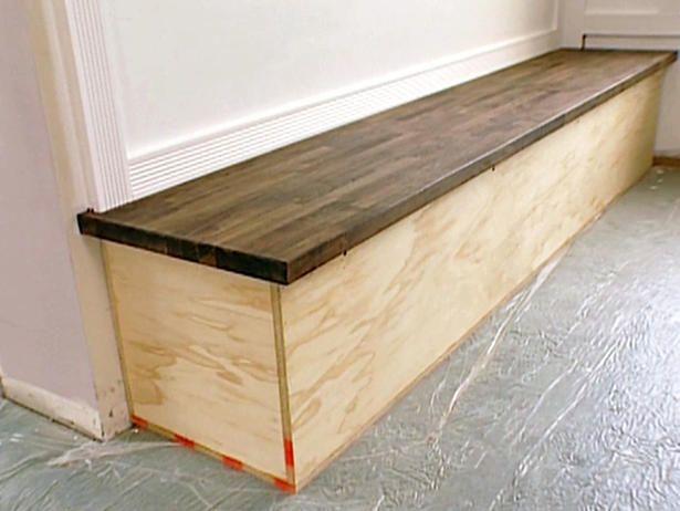 Built In Bench With Butcher Block Top Corner Bench