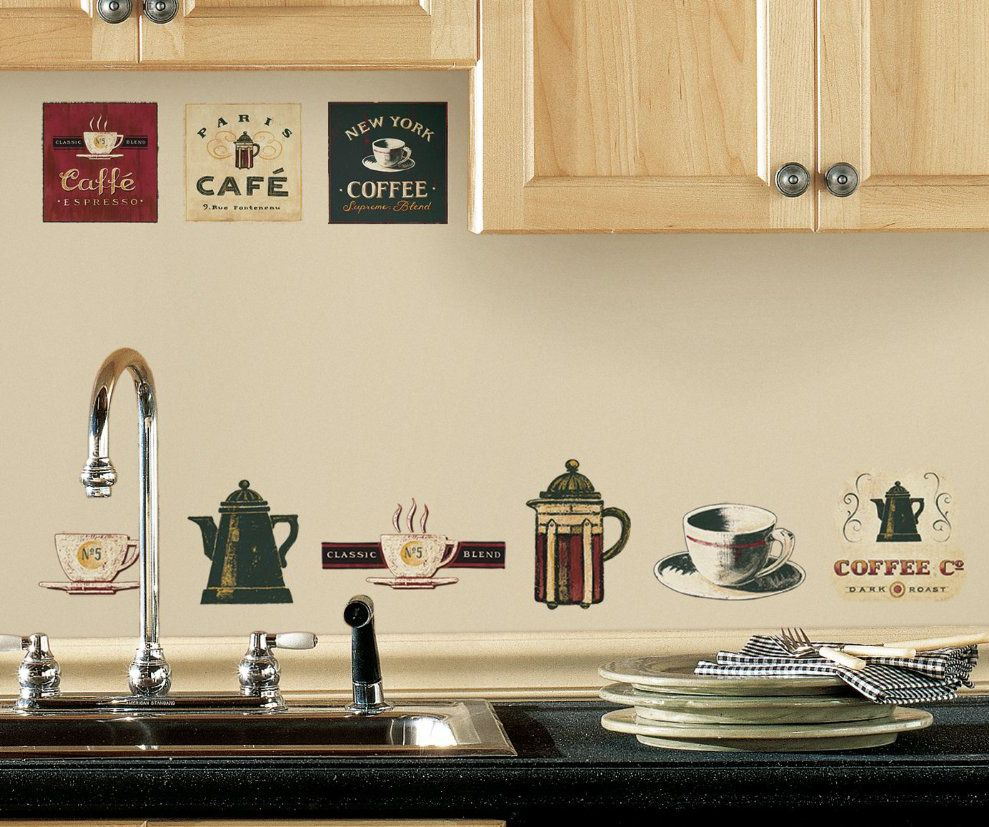 Coffee kitchen decor theme  Cafe Coffee Wall Stickers peel and stick decals  Pinterest