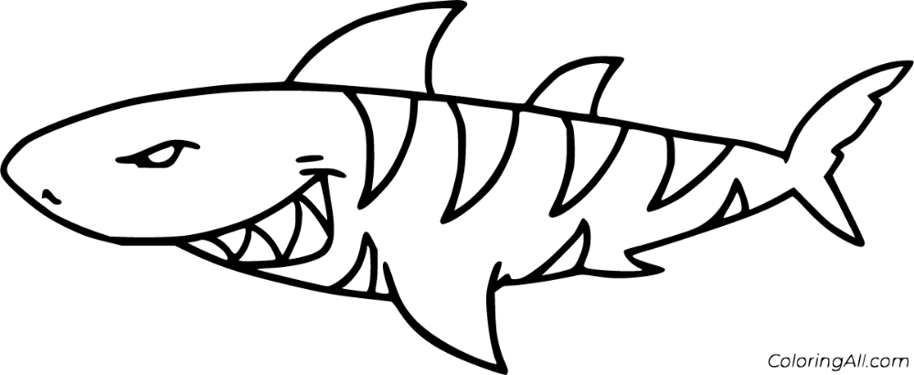 8 Free Printable Tiger Shark Coloring Pages In Vector Format Easy To Print From Any Device And Automatically F Shark Coloring Pages Coloring Pages Tiger Shark