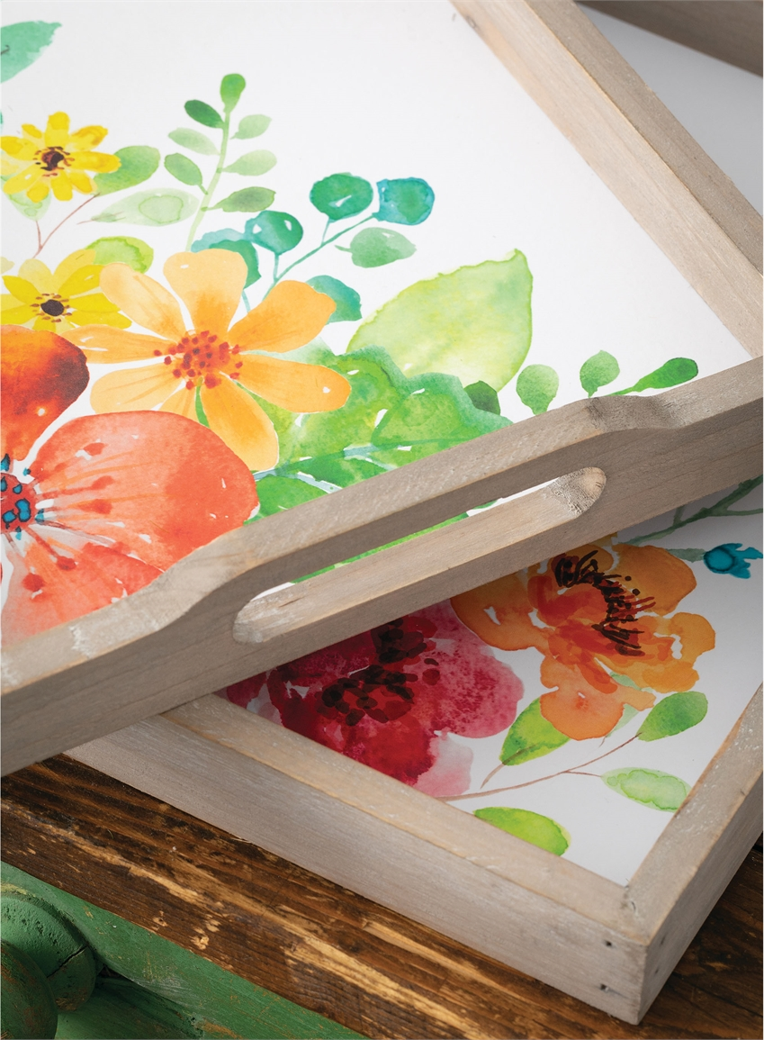 Wholesale Flower Serving Tray, Home Decor Multicolor Trays