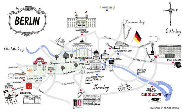 Berlin Germany Map Berlin Germany Illustrated Map