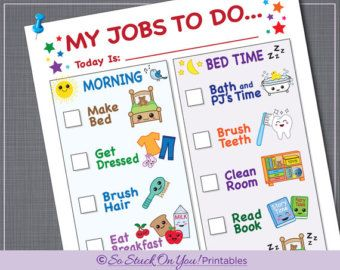 Sale  Printable Kids Routine Chart Morning And Evening