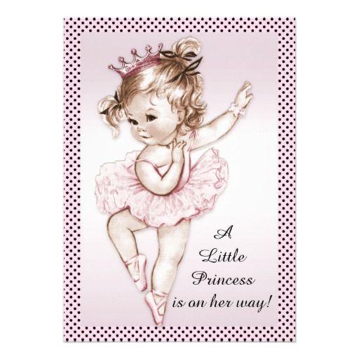 Elegant Vintage Ballerina Princess Baby Shower Announcement