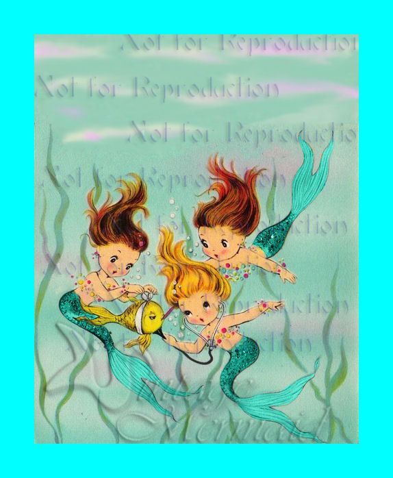Mermaid Gifts Mermaid Decor Mermaid Art Print Mother S: Vintage 1950's Greeting Card Merbaby