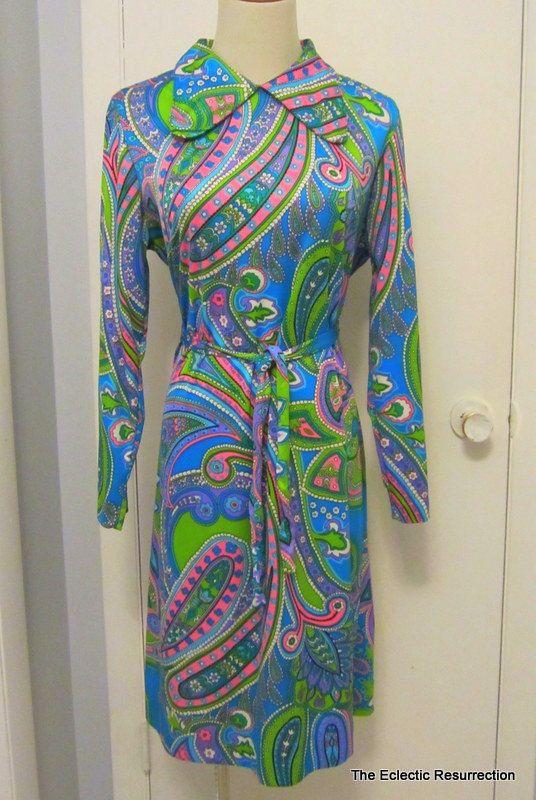 e4a30c5a309d19 Vintage 1960s MOD Mini Dress Psychedelic Paisley Print by linbot1, $44.00