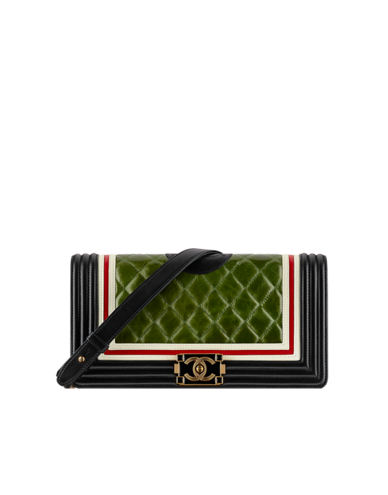 d4992bd0f88f Chanel Green Black White Red Boy Chanel Old Medium Flap Bag ...