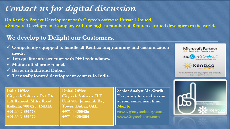 Simple is better- is how #Kentico #CMS can build a store for you! Talk to Kentico CMS experts to know why your next store ought to be built on Kentico platform and why Citytech Software Kentico CMS Development team should be your first choice. Do you know Citytechcorp.com has the highest number of Kentico certified developers in the world in its capacity? To know more of similar surprises, talk to its senior analyst of  http://www.citytechcorp.com/services/kentico-customizations/