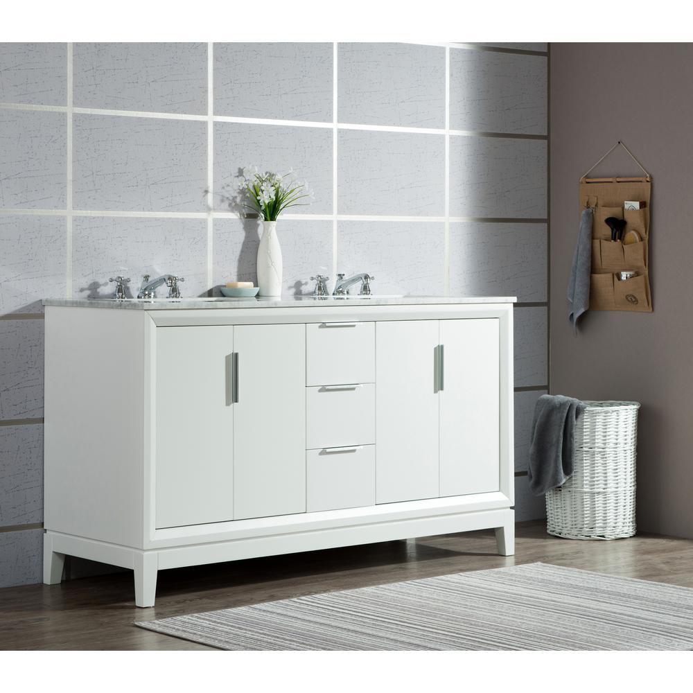 Water Creation Elizabeth 60 In Pure White With Carrara White Marble Vanity Top With Ceramics White Basins Vel060cwpw00 The Home Depot Marble Vanity Tops Water Creation Vanity