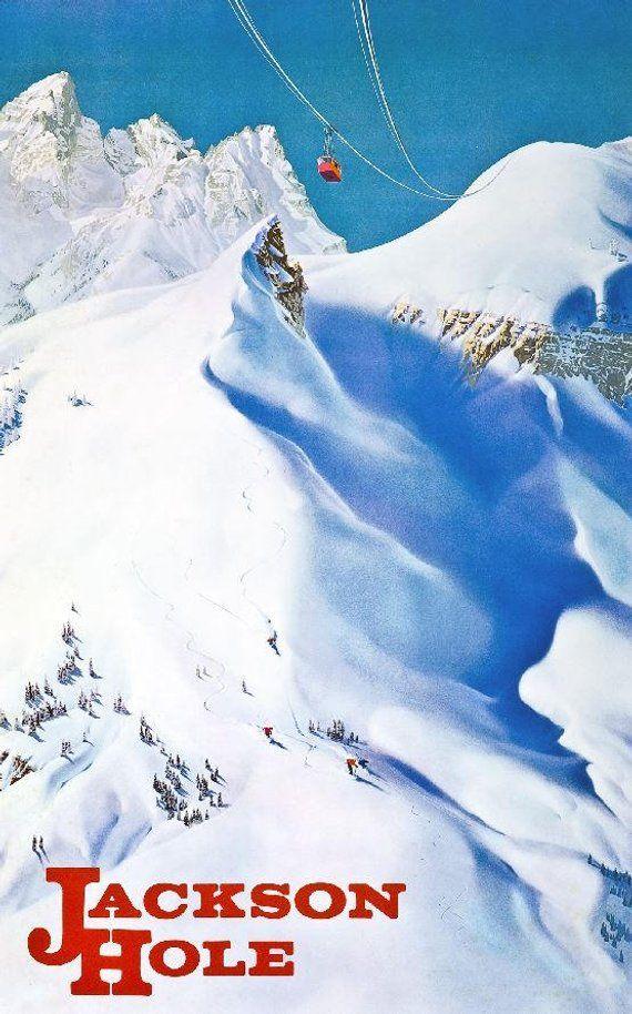 1968 Jackson Hole, Wyoming - Vintage Ski Poster | Products