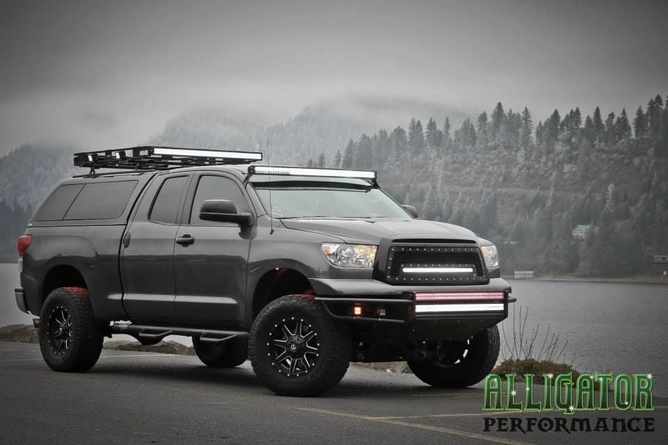 toyota tundra with led light bars apocalypse zombie military rh pinterest com 2015 Toyota Tundra Roof Rack N-Fab Light Bar On Tundra