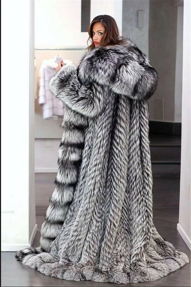 NEW IMPERIAL SAGA SILVER FOX FUR LONG SWING COAT HUGE HEM