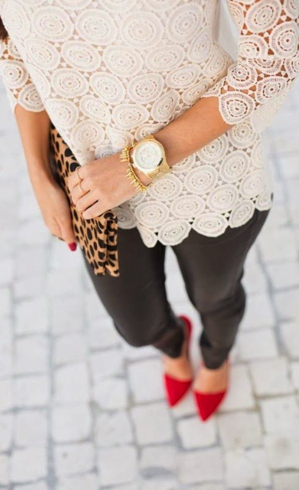 Red heels can offer you a sweet escape from the daily routine of going for the same boring formal wear day-in and day-out. They look great with a black or grey pencil skirt and a white blouse. via StyleList