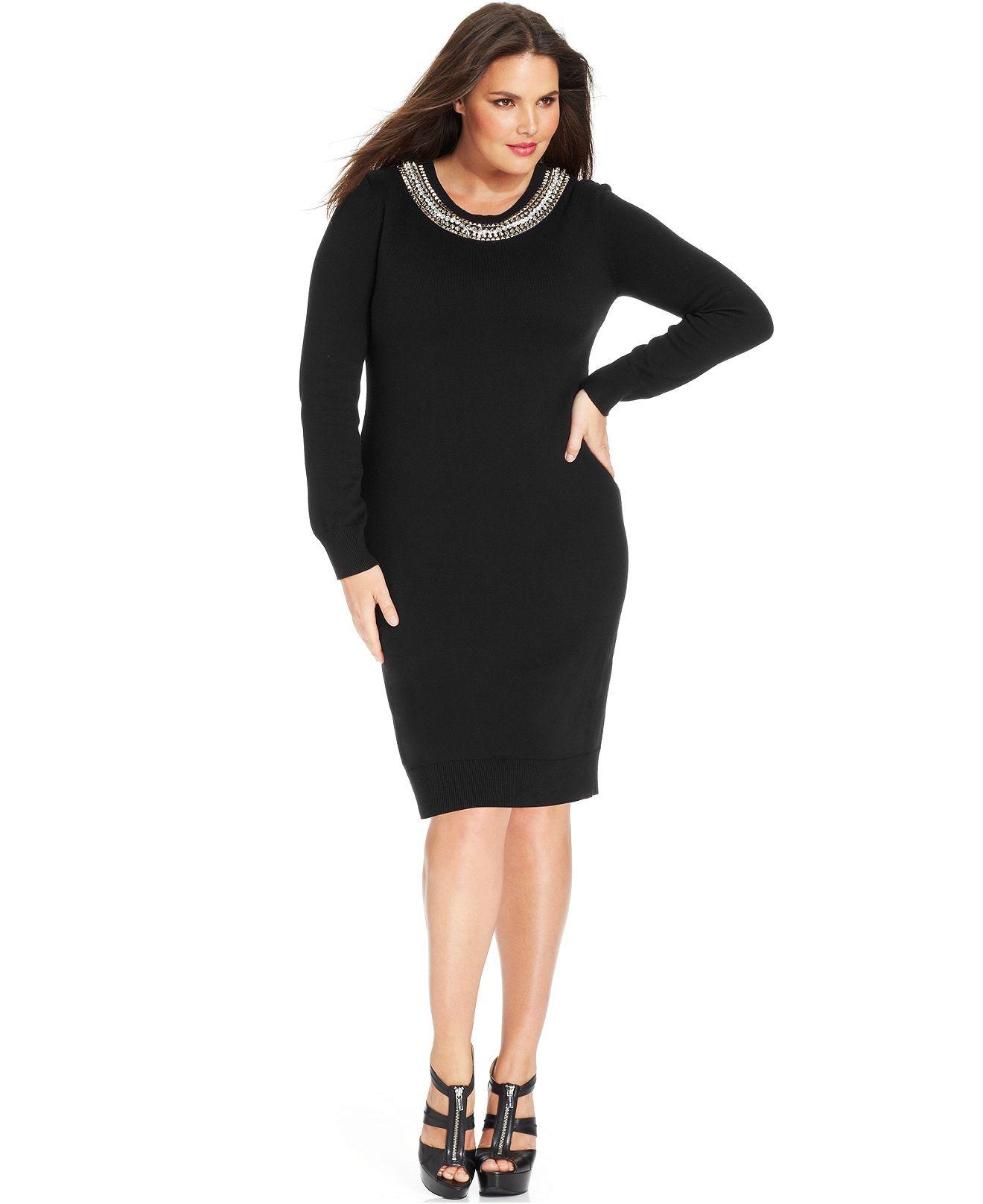 MICHAEL Michael Kors Plus Size Dress, Long-Sleeve Studded ...