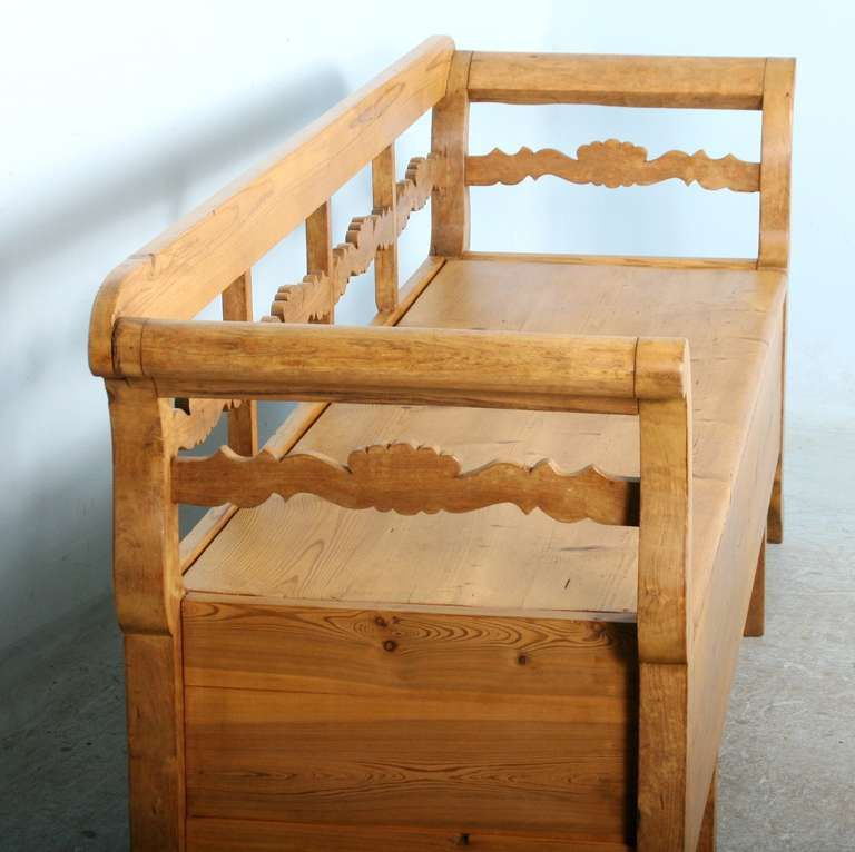 Antique Karl Johan Swedish Pine Bench With Storage Circa 1860 80 Bench With Storage Antique Pine Furniture Pine Furniture