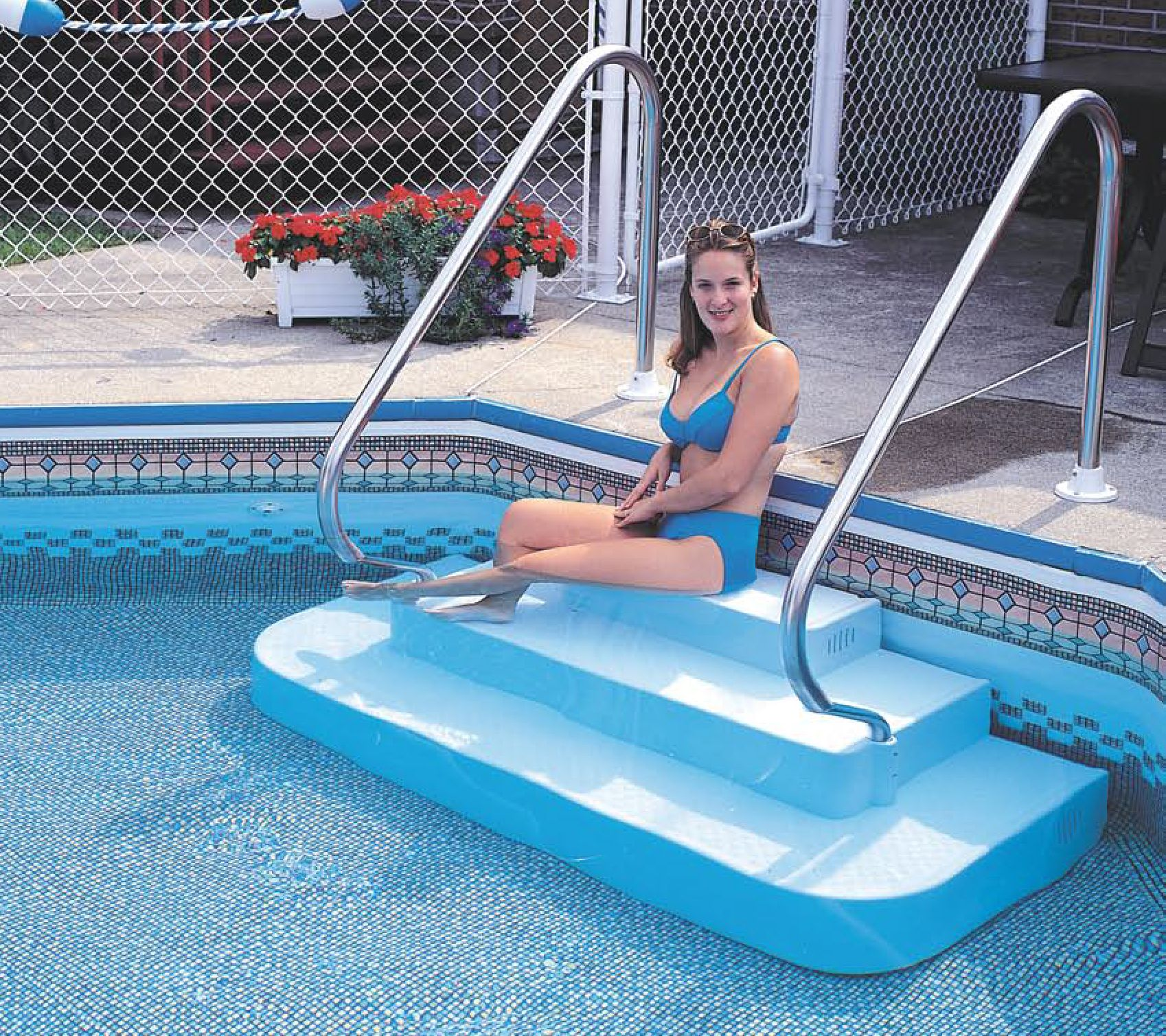 The Step Inground Drop In Two Rails Pool Supplies Canada Swimming Pool Steps Swimming Pools Inground Pool Steps