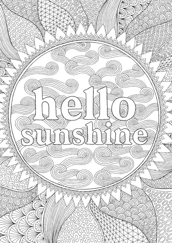 Hello Sunshine - Colour with Me HELLO ANGEL - coloring, design, detailed, meditation, coloring for grown ups, doodles, quote, uplifting