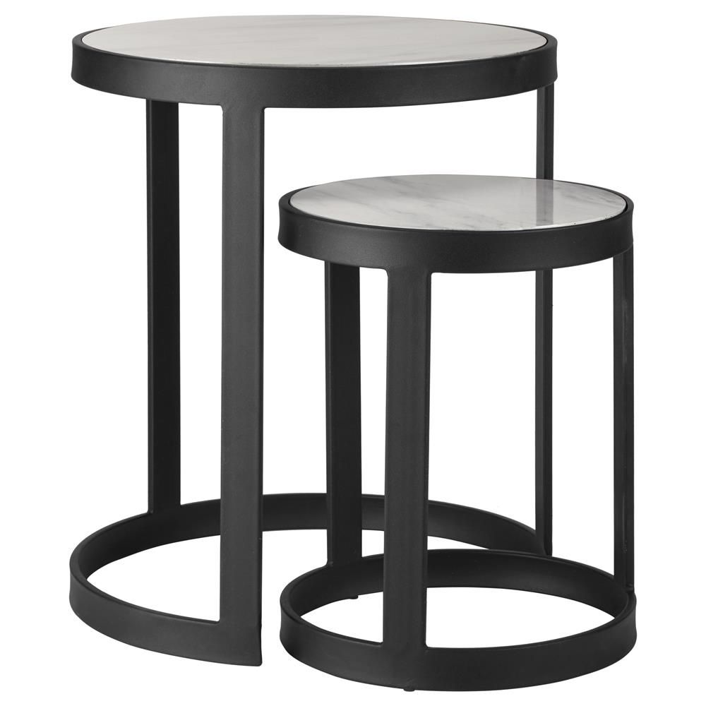 Set Of 2 Marble Looking And Metal Nesting Side Tables Stylish Decor Coffee Table Furniture Decor [ 1000 x 1000 Pixel ]