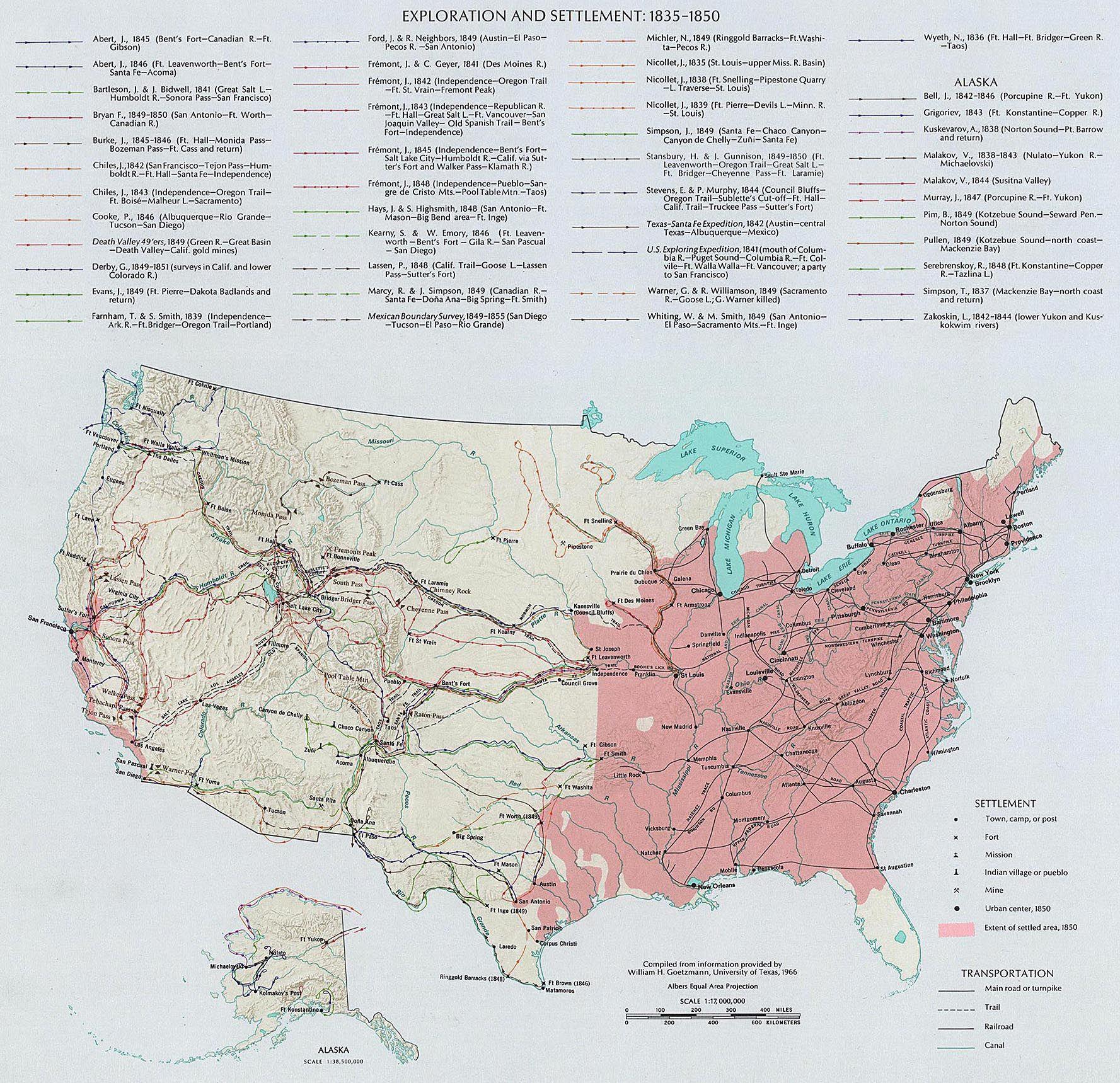 1830s1850s US Exploration 18201860 Antebellum America Maps