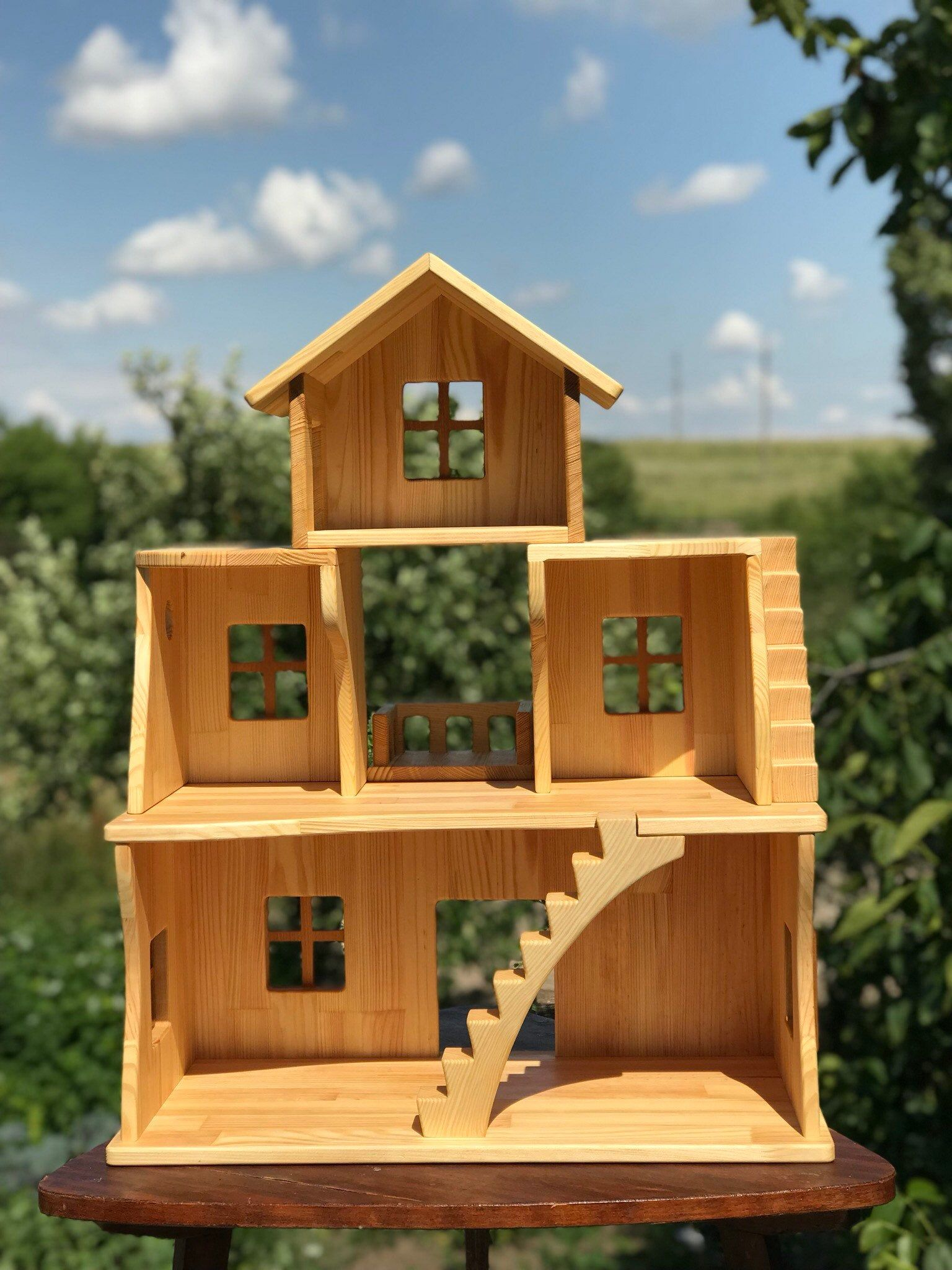 Wooden Dollhouse Stackable Three Story Dollhouse 1 16 Scale Etsy Wooden Dollhouse Dollhouse Furniture Doll House